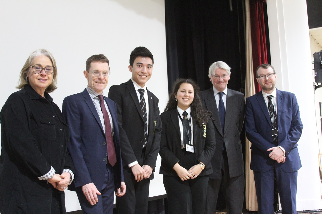 Joanna Davis, Chair of Governors at Bishop Vesey's School, West Midlands Mayor Andy Street, Jaden Lo-Watson and Ruby Cooper of the school council, Andrew Mitchell MP and headteacher Dominic Robson.