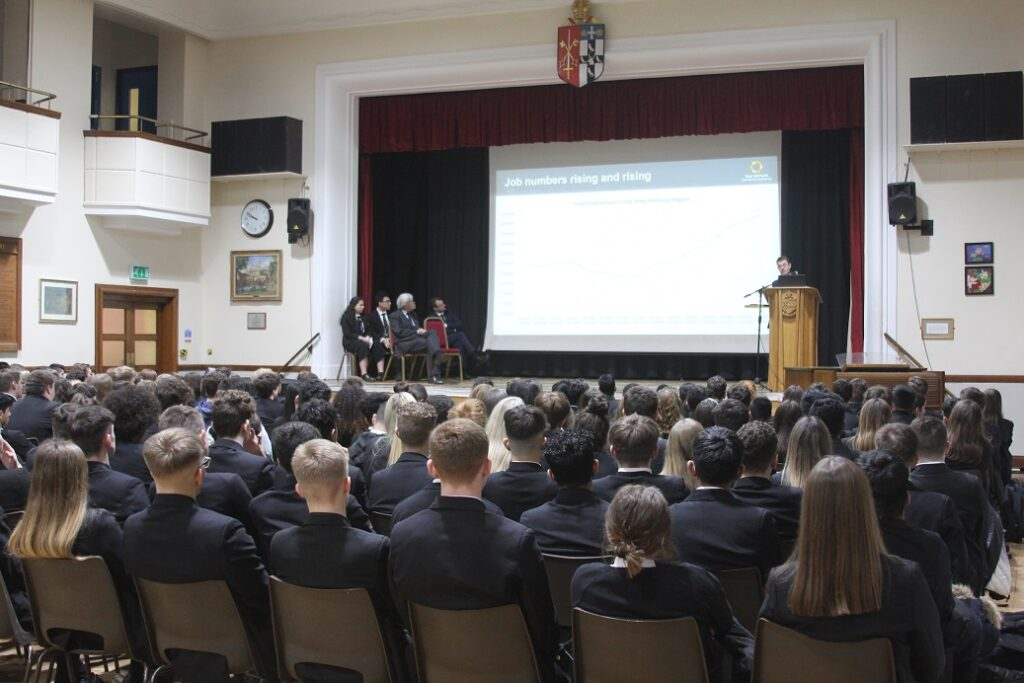 The two local leaders spoke to the entire sixth form.