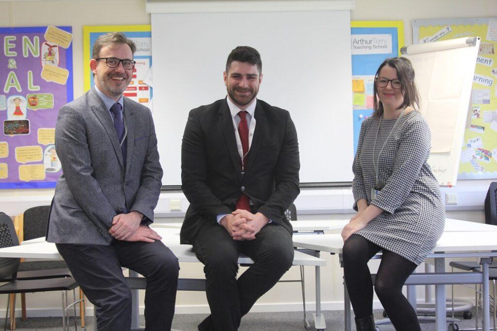 Joe Gavin (centre) of the Arthur Terry Teaching School with trainees Mark Smith and Emily Hamilton.