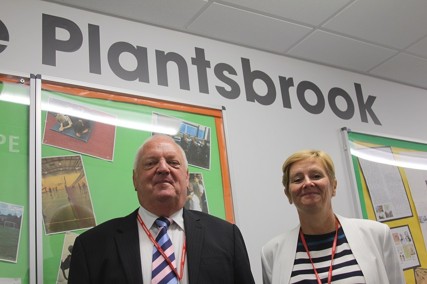 David Griffiths with Plantsbrook headteacher Tracy Campbell.