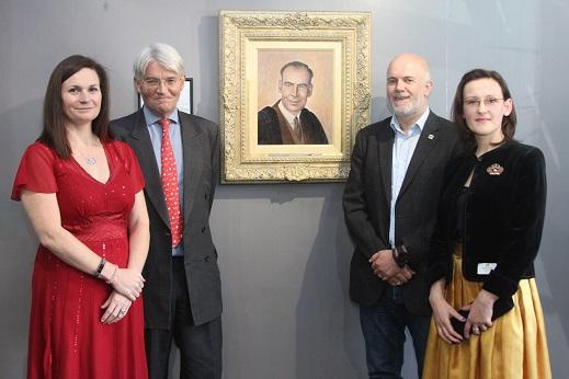 Headteacher Deborah Bunn, Sutton MP Andrew Mitchell, Neil Philpott and artist Izabela Okonska with the new portrait.