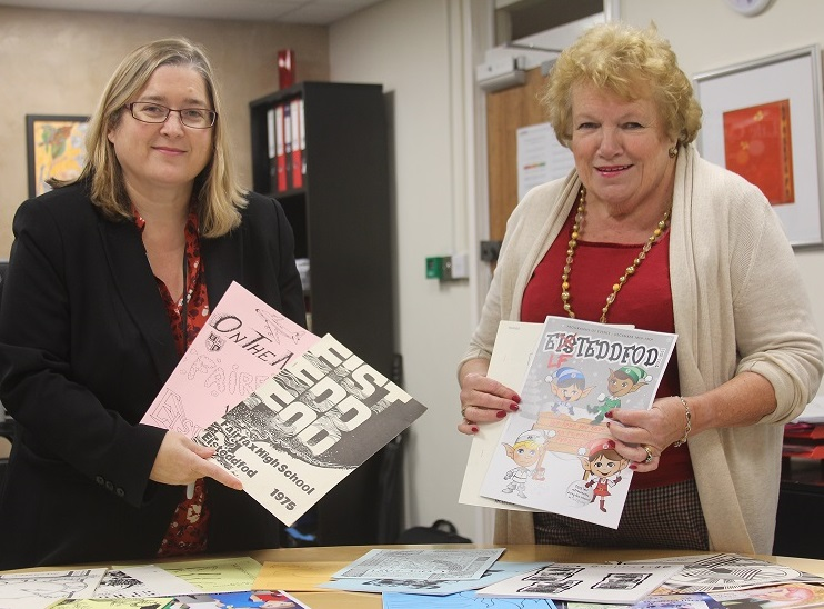 Deputy Head of Academy Rachel Boyce with Kath Philpott and some of the programmes.
