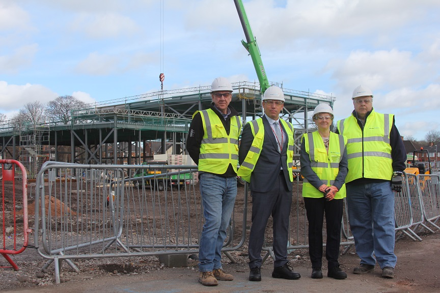 Site manager Les Beaton, Plantsbrook's deputy head Jason Farr and executive headteacher Tracy Campbell with Operations Manager Les Ridgewell.