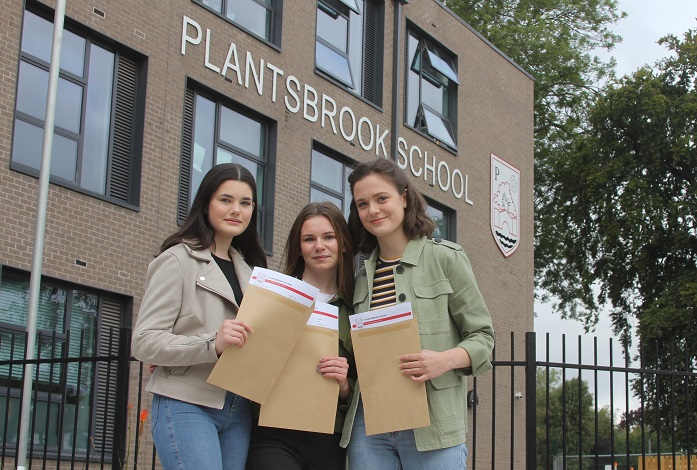 Hannah Portman, Olivia Dunnington and Eve Douglas, all aged 16, were among the Plantsbrook School pupils to pick up excellent GCSE results.