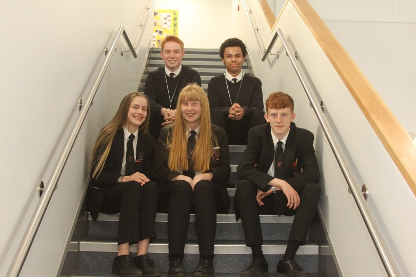 Some of the Plantsbrook pupils who have never had a day off during their time at the school. From back left: Rhys Miles, 18, Matthew Steele, 17, Jemima Manton, 15, Samantha Cureton, 16 and Dylan King, 16.