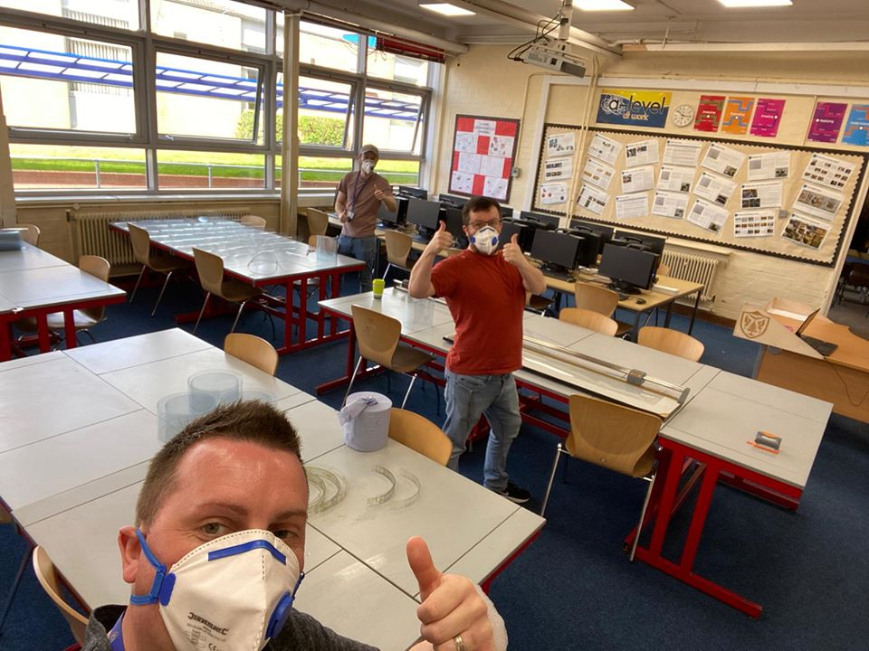 Staff at the Streetly School creating PPE.