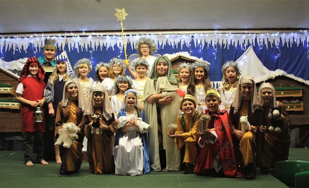 The play included a traditional nativity scene.