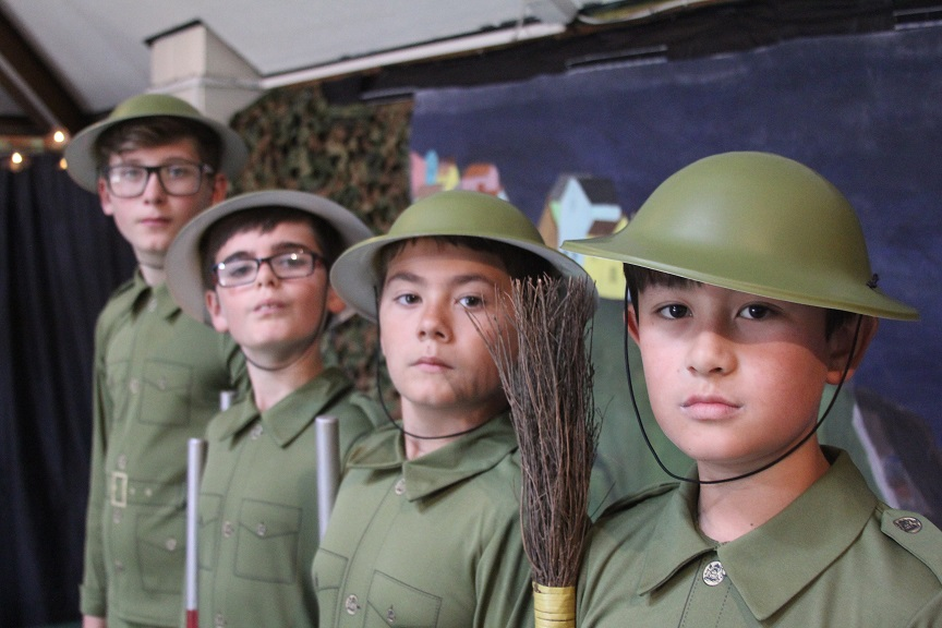 Attention: Home Guard soldiers Harry Shepherd (11), Jake Dockerill (10), Darren Caine (11) and Donald Chester (11).