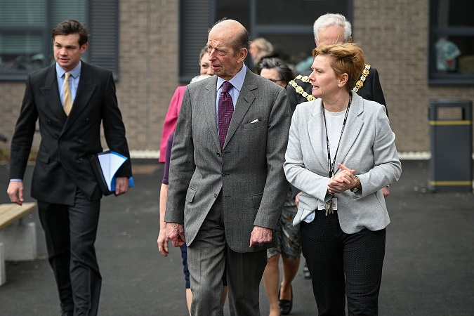 Headteacher Tracy Campbell with HRH Duke of Kent visits Plantsbrook School in Sutton Coldfield.
