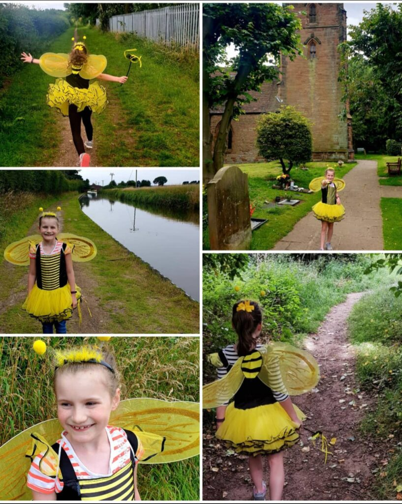 There was a real buzz around Curdworth  when seven-year-old Sophie Wakeman did her daily sponsored walks – dressed in a colourful bee costume.