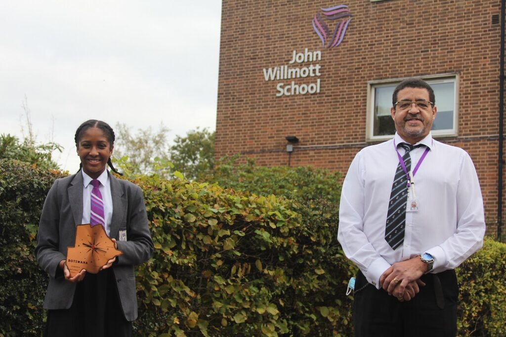 Mr Fergus with John Willmott pupil May Barrows, 12, who will be the student lead in the link-up with his new school.