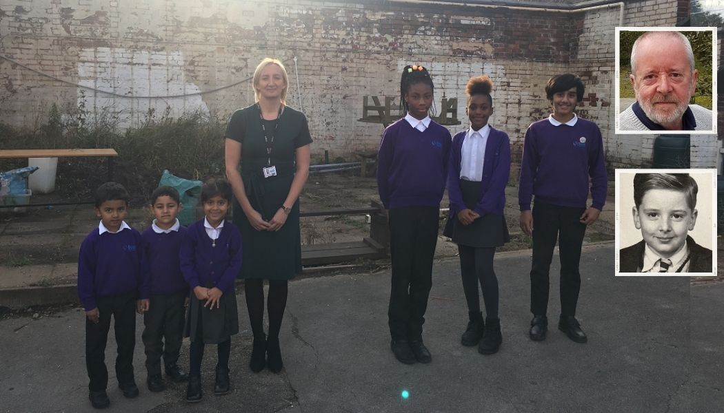 Headteacher Jenny Maskell with pupils from Slade Primary School and (inset) Stuart McPhillips as a pupil and as he is today.