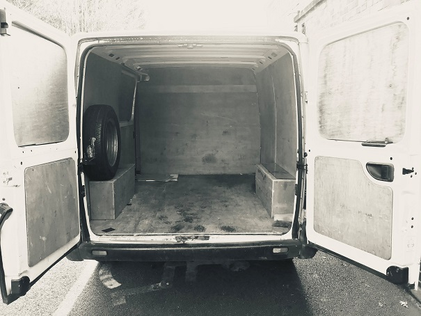 The van awaits its load.