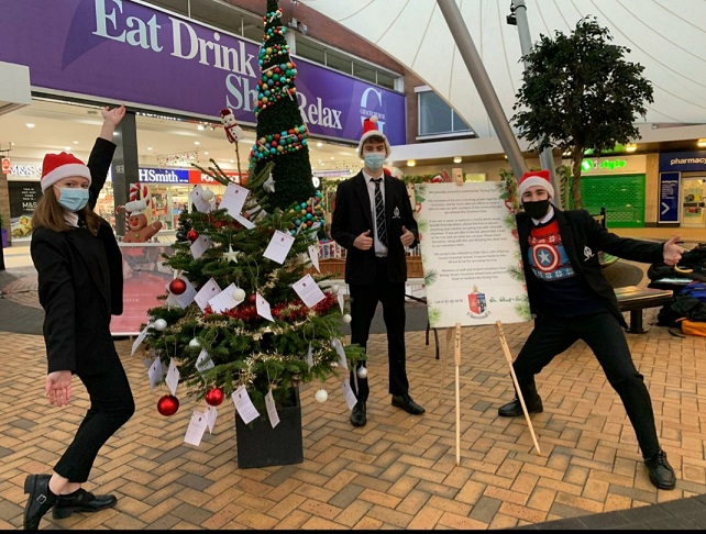 Bishop Vesey students will be manning the Giving Tree in Sutton Town Centre.