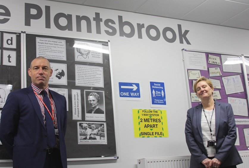 Tracy Campbell, who has been headteacher at Plantsbrook School for nearly 20 years and Jason Farr, who will take up the position after she retires this month.