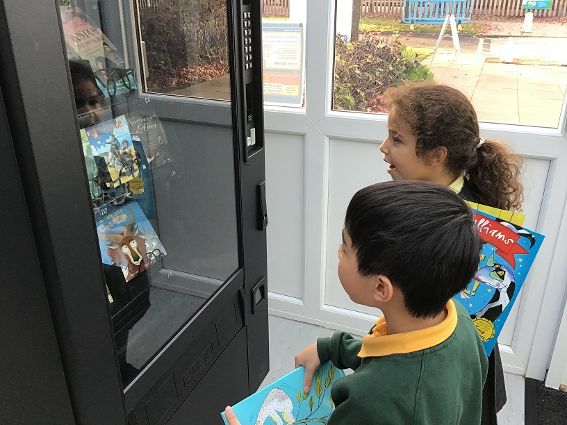 From snack to paperback – Mere Green pupils enjoy the latest releases from their new book vending machines.