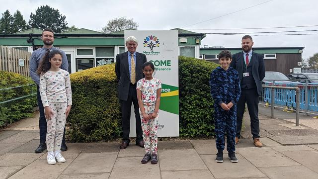 L-R: Richard Anderton (Parliament Teacher Ambassador), with pupils Tia Hanrahan, Akshara Batchu, Liam Powlson, and Sean Boyd (Deputy Head)