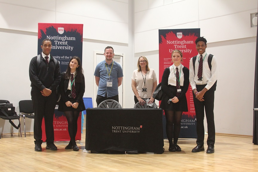 Students Ali Allison, Natalie Cooper, Eve Shepperson and Shiloh Parkes with Nottingham Trent University's James Rowland and Plantsbrook Careers Advisor Pauline Knowles.