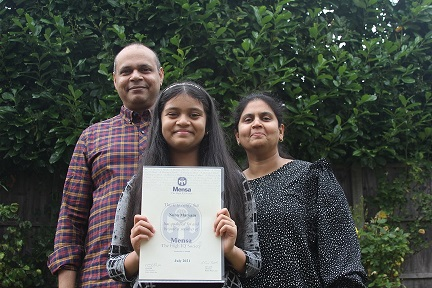 Nuha with parents Niyama and Sabreen, whi are both doctors. the talented 11-year-old wants to follow in their footsteps.